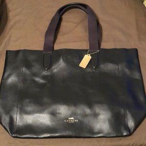 Extra large black leather coach bag